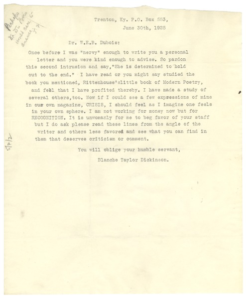 Letter from Blanche Taylor Dickinson to W. E. B. Du Bois, June 30, 1925