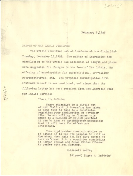 Report of the Crisis committee, February 9, 1925