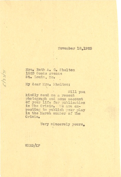 Letter from W. E. B. Du Bois to Ruth A. G. Shelton, November 18, 1925