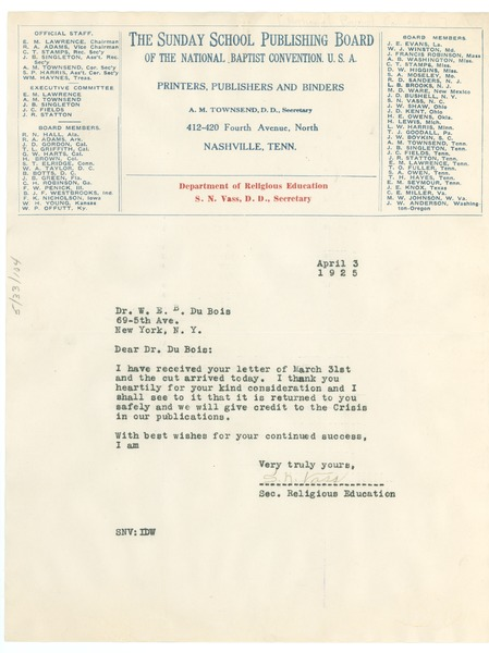 Letter from Sunday School Publishing Board to W. E. B. Du Bois, April 3, 1925