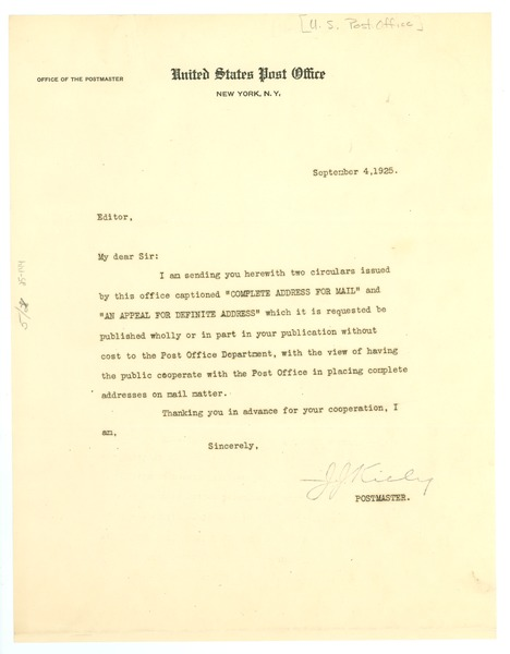 Letter from United States Post Office to Editor of the Crisis, September 4, 1925