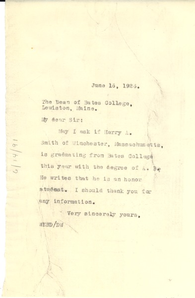 Letter from W. E. B. Du Bois to Bates College, June 15, 1926