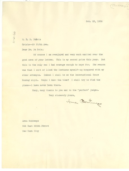 Letter from Arna Bontemps to W. E. B. Du Bois, October 23, 1926