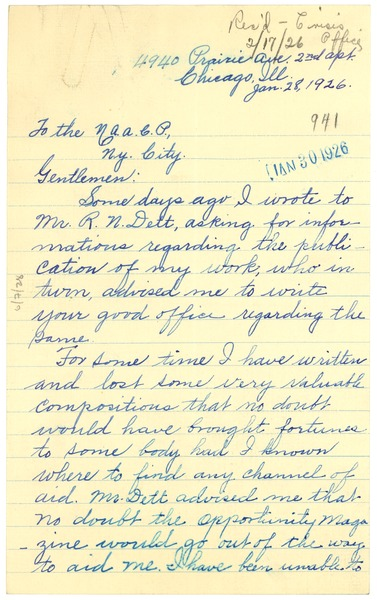 Letter from E. G. Braxton to NAACP, January 28, 1926