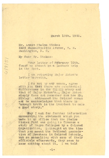 Letter from W. E. B. Du Bois to Anson Phelps Stokes, March 15, 1926