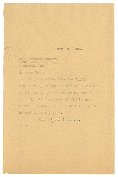 Letter from W. E. B. Du Bois to Frances Powers, May 18, 1926