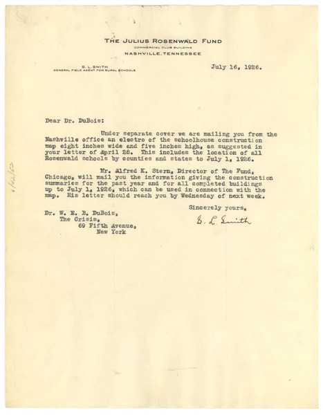 Letter from Julius Rosenwald Fund to W. E. B. Du Bois, July 16, 1926