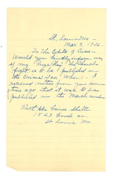 Letter from Ruth Gaines Shelton to Editor of the Crisis, March 3, 1926