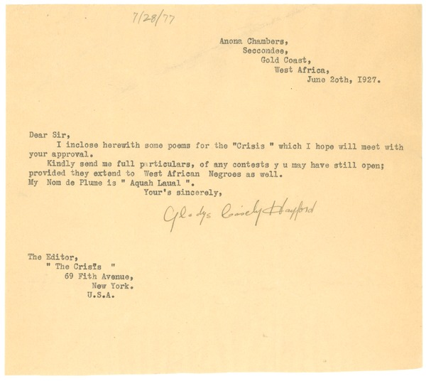 Letter from Gladys Casely-Hayford to Editor of the Crisis, June 20, 1927