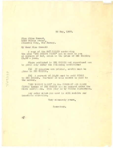 Letter from Crisis to Alice Howard, May 28, 1927