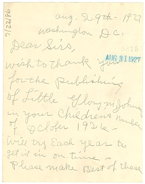 Letter from Lenora Johnson to Crisis, August 29, 1927