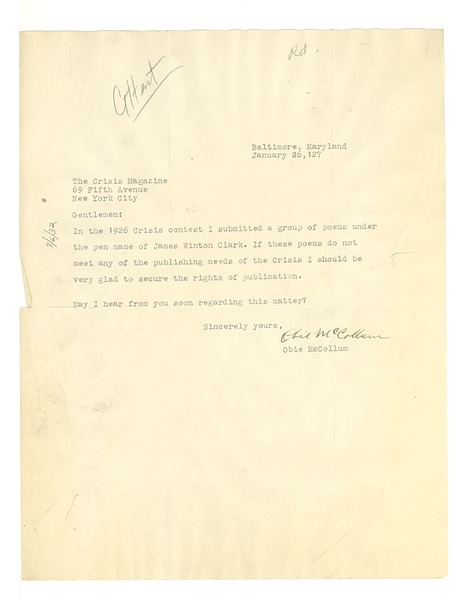 Letter from Obie McCollum to Crisis, January 26, 1927