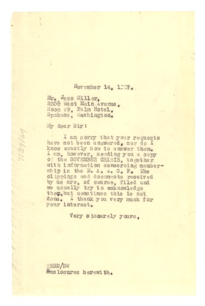Letter from W. E. B. Du Bois to Jess Miller, November 14, 1927