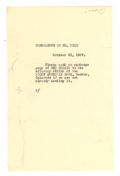 Memorandum from W. E. B. Du Bois to A. G. Dill, October 21, 1927