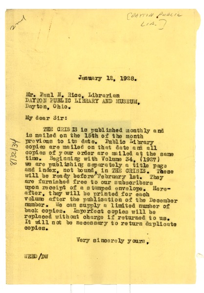 Letter from W. E. B. Du Bois to Dayton Public Library and Museum, January 12, 1928