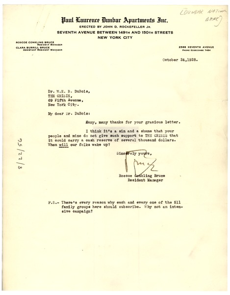 Letter from Dunbar National Bank to W. E. B. Du Bois, October 24, 1928