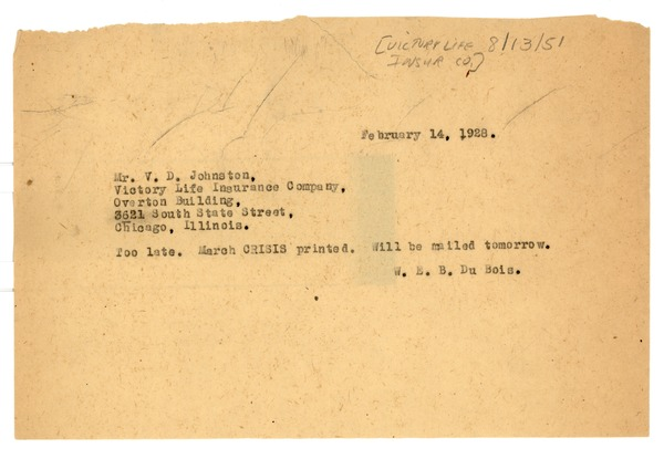 Telegram from W. E. B. Du Bois to Victory Life Insurance Company, February 14, 1928