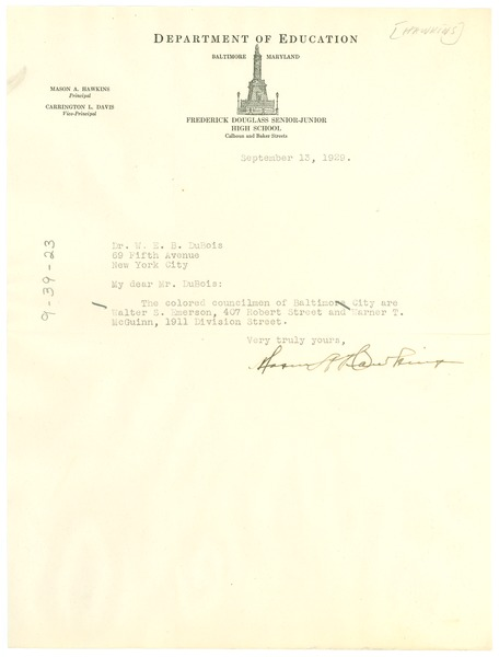 Letter from Mason A. Hawkins to W. E. B. Du Bois, September 13, 1929