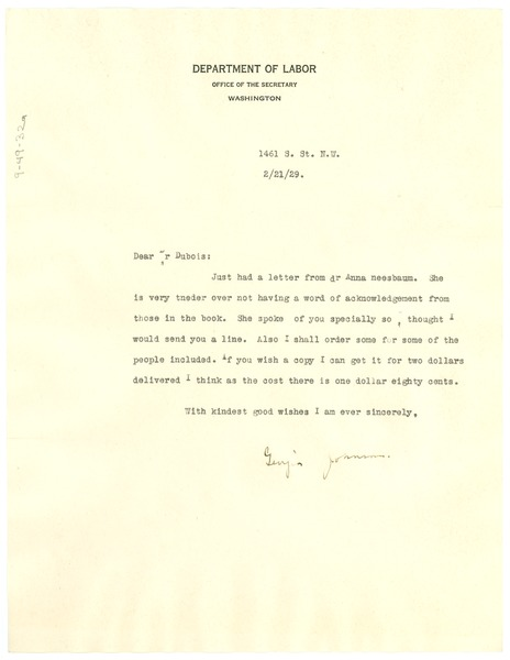 Letter from Georgia Johnson to W. E. B. Du Bois, February 21, 1929