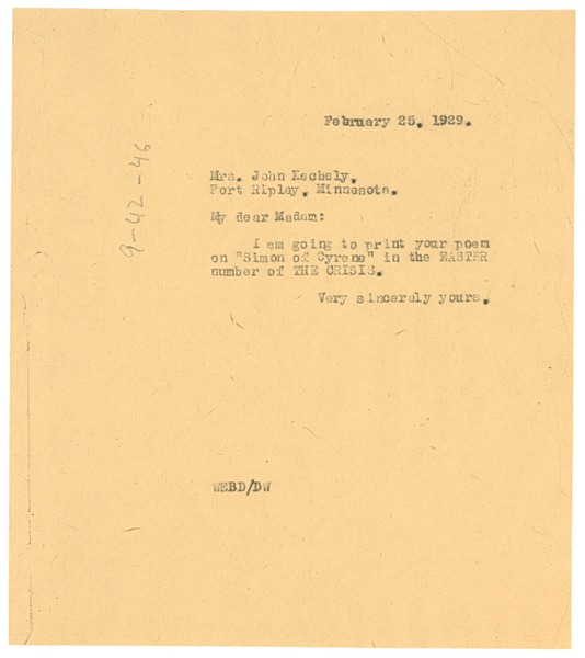Letter from W. E. B. Du Bois to Mrs. John Kechely, February 25, 1929