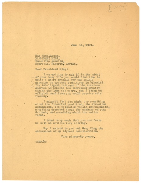 Letter from W. E. B. Du Bois to President of Liberia, June 14, 1929