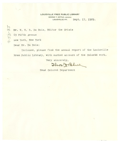 Letter from Louisville Free Public Library to W. E. B. Du Bois, September 17, 1929