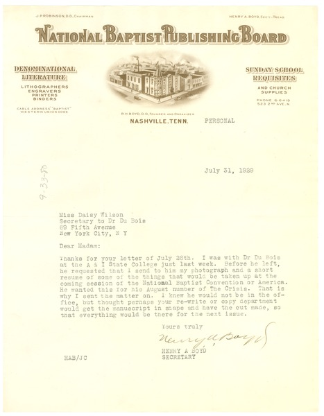 Letter from National Baptist Publishing Board to Crisis, July 31, 1929