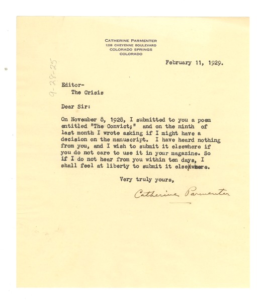 Letter from Catherine Parmenter to Crisis, February 11, 1929