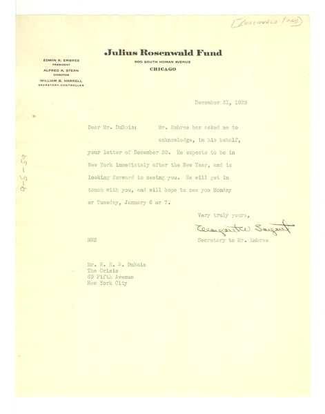 Letter from Julius Rosenwald Fund to W. E. B. Du Bois, December 31, 1929