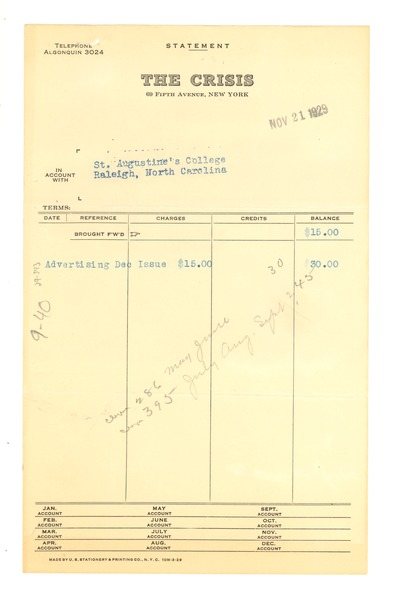 Invoice from Crisis to St. Augustine's College, November 21, 1929
