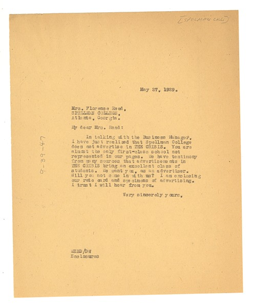 Letter from W. E. B. Du Bois to Spelman College, May 27, 1929