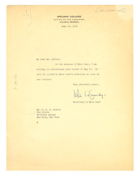 Letter from Spelman College to W. E. B. Du Bois, June 10, 1929