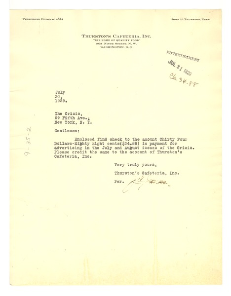 Letter from Thurston's Cafeteria, inc. to Crisis, July 31, 1929