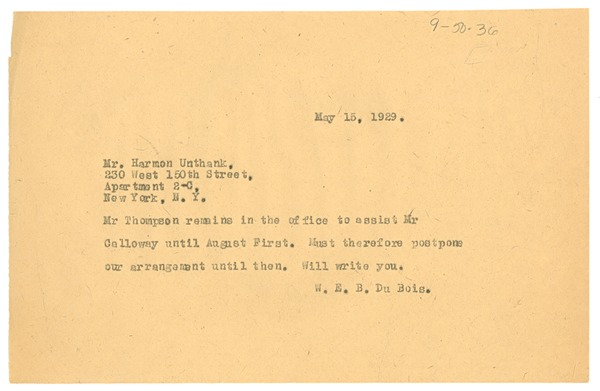 Telegram from W. E. B. Du Bois to Harmon Unthank, May 15, 1929