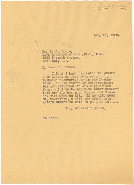 Letter from W. E. B. Du Bois to Roscoe Conkling Bruce, July 31, 1930