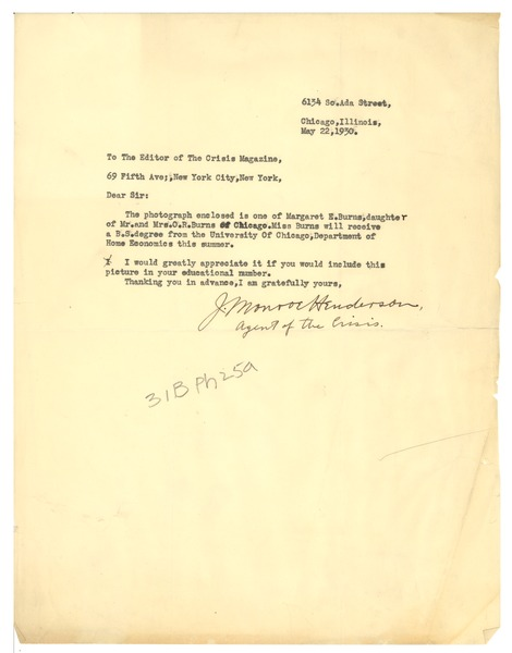 Letter from J. Monroe Henderson to the Crisis, May 22, 1930