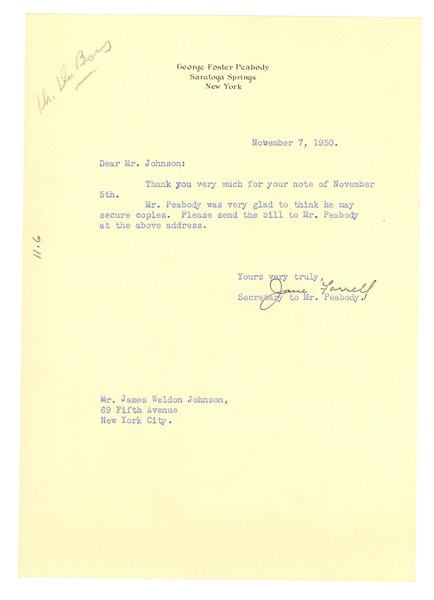 Letter from Jane Farrell to N.A.A.C.P., November 7, 1930