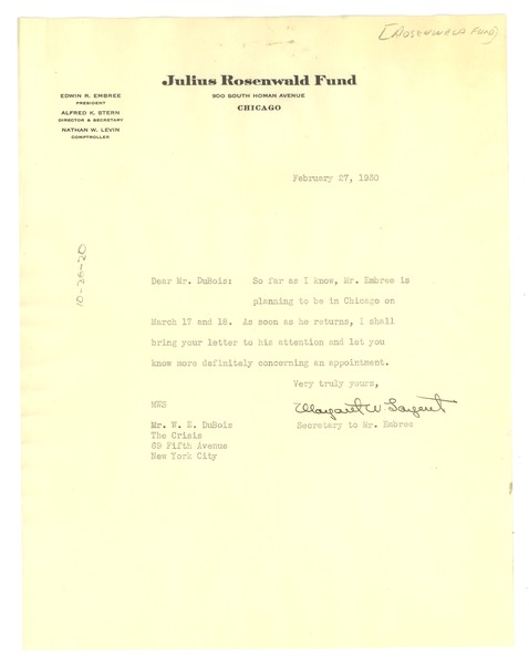 Letter from Julius Rosenwald Fund to W. E. B. Du Bois, February 27, 1930