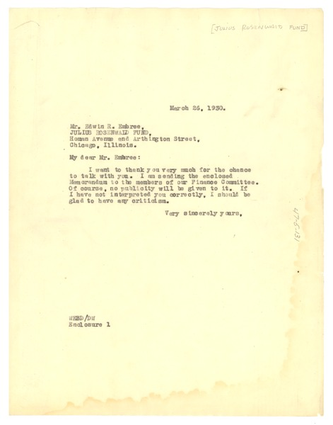 Letter from W. E. B. Du Bois to Julius Rosenwald Fund, March 26, 1930