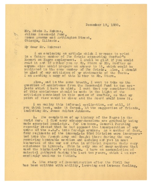 Letter from W. E. B. Du Bois to Julius Rosenwald Fund, December 19, 1930