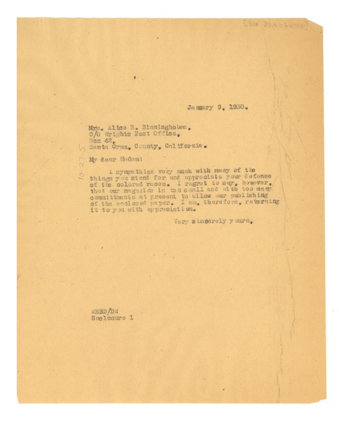 Letter from W. E. B. Du Bois to Alice Von Benninghoven, January 9, 1930