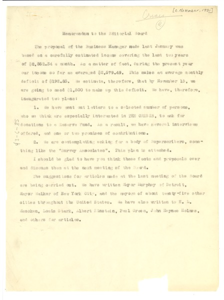 Memorandum from W. E. B. Du Bois to unidentified correspondent, ca. November 1931