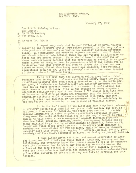 Letter from George S. Schuyler to W. E. B. Du Bois, January 27, 1932
