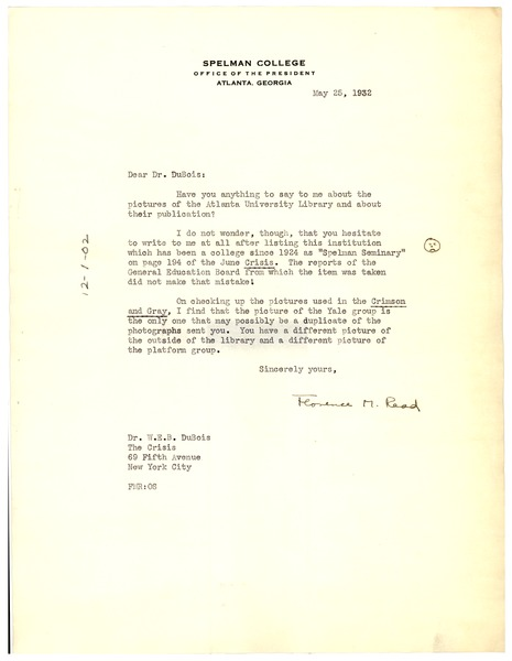Letter from Florence M. Read to W. E. B. Du Bois, May 25, 1932