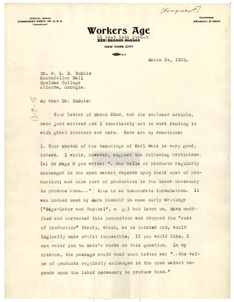 Letter from Will Herberg to W. E. B. Du Bois, March 24, 1933