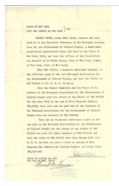 Statement by Walter White, May 9, 1933