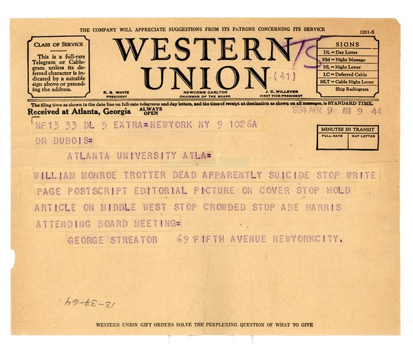 Telegram from George Streator to W. E. B. Du Bois, April 9, 1934