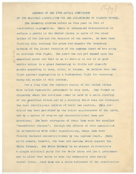 Address of the 17th annual conference of the National Association for the             Advancement of Colored People, ca. 1926
