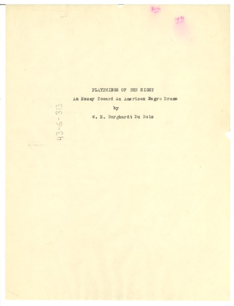 Title page of Playthings of the Night, 1931