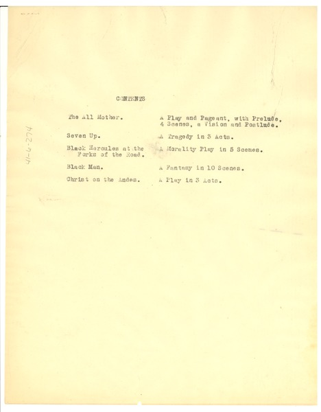 Contents page of Playthings of the Night, 1931